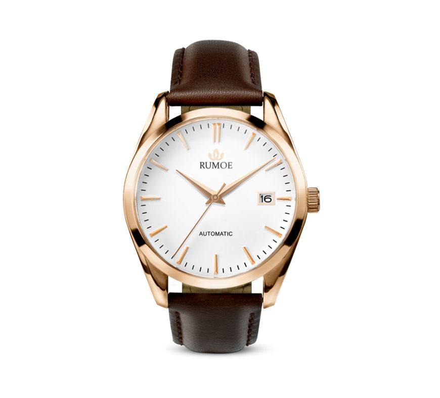 Rumoe Nobel Royal Watch - Rose gold case and white dial watch with brown Calf Leather Strap