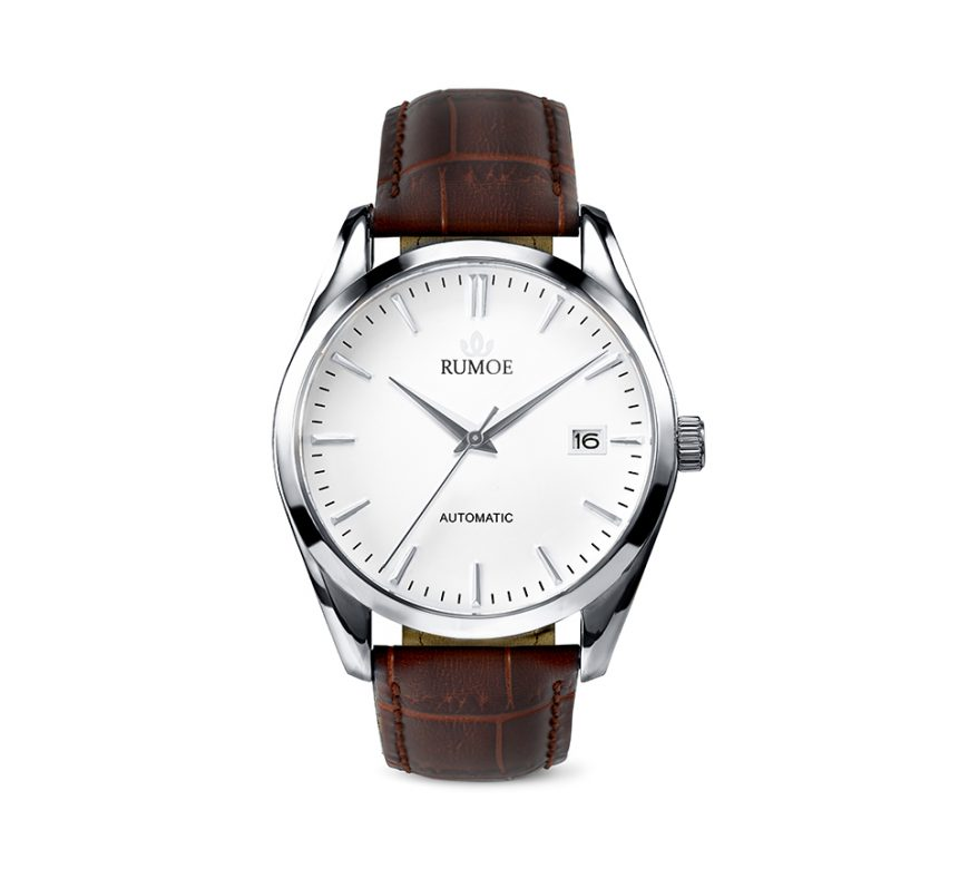 Rumoe Nobel Royal Watch - Stainless steel case and white dial watch with brown croco strap