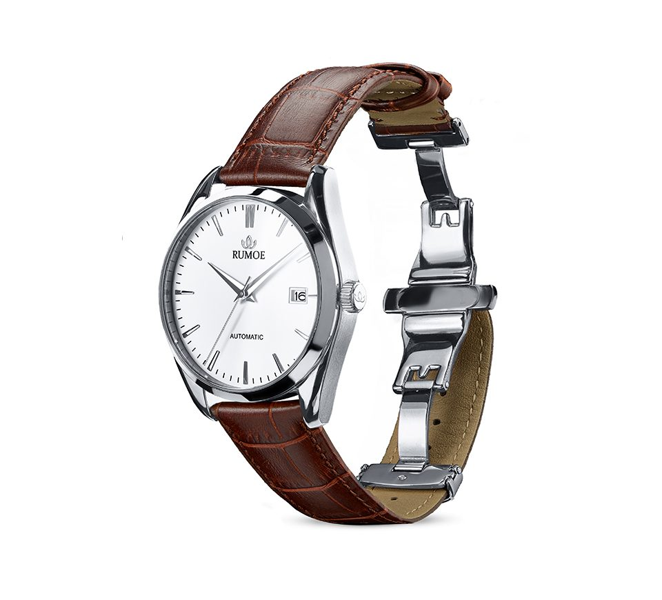 Rumoe Nobel Royal Watch - Brushed and polished silver case with a stainless steel butterfly buckle clasp.