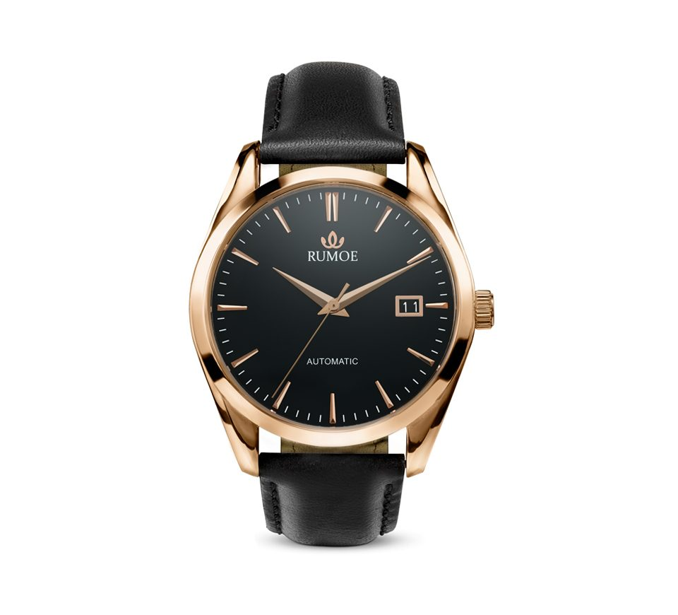 Rumoe Nobel Royal Elegant Watch - Rose gold case and black dial watch with black Calf Leather Strap