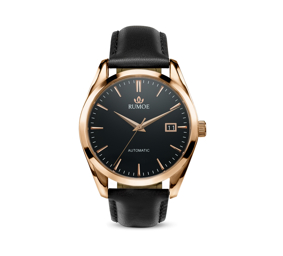 royal elegant with rose gold watch watches rumoe dial case product black nobel and front calf